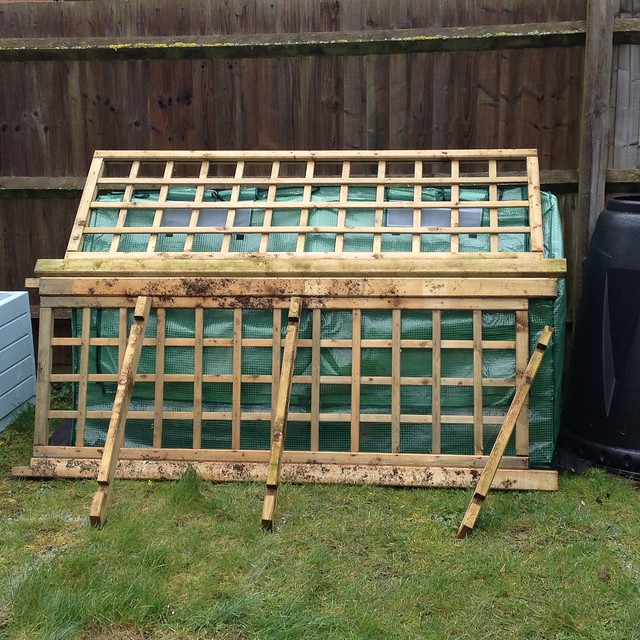 Protecting the cold frame from high winds.