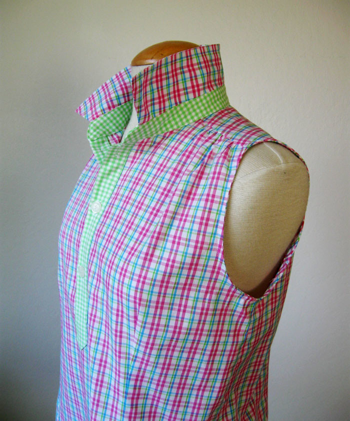 pink placket top on form side view of collar