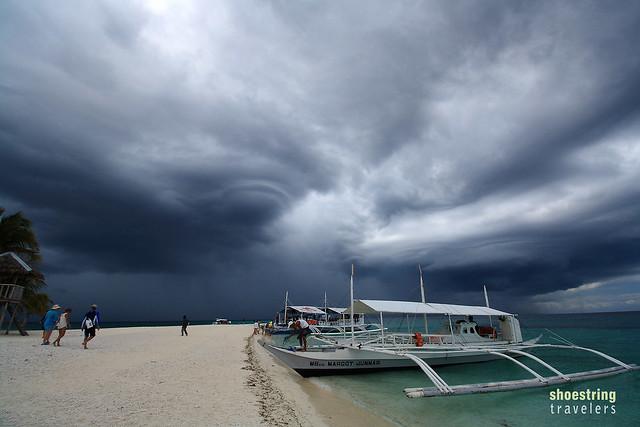 storm clouds approaching Kalanggaman Island