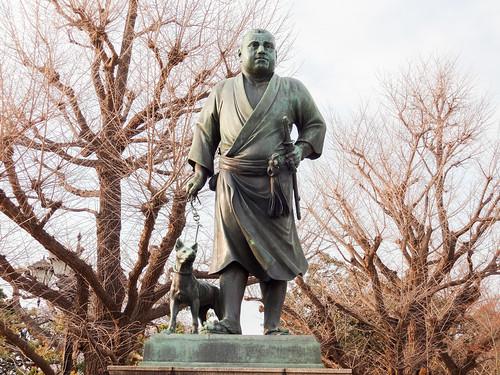 Hanami at Ueno Park 2013: Statue of Saigo Takamori