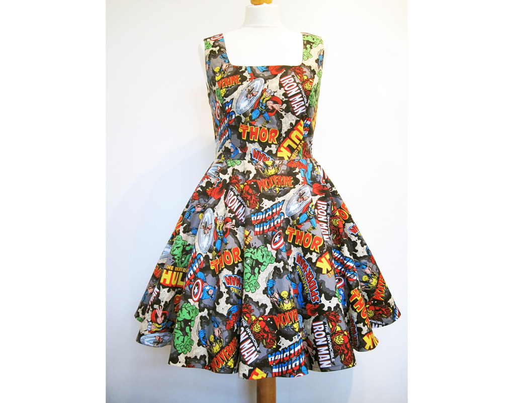 Dress made from Marvel Avengers fabric by Frockasaurus