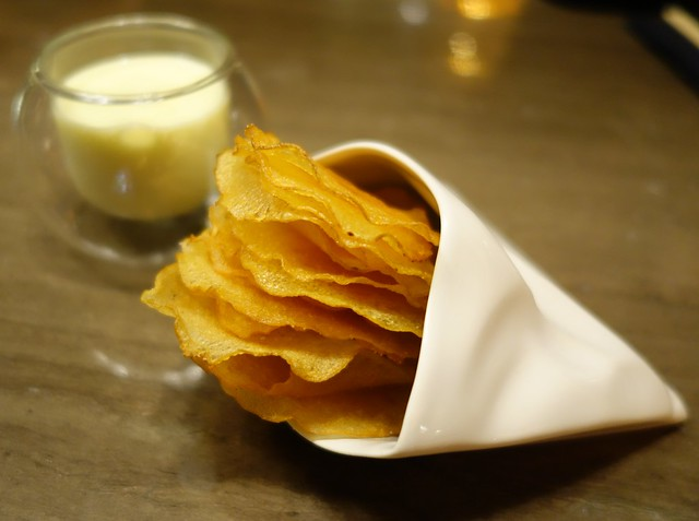 Artisanal Potato Chips with White Truffle & Potato Puree at Antidote
