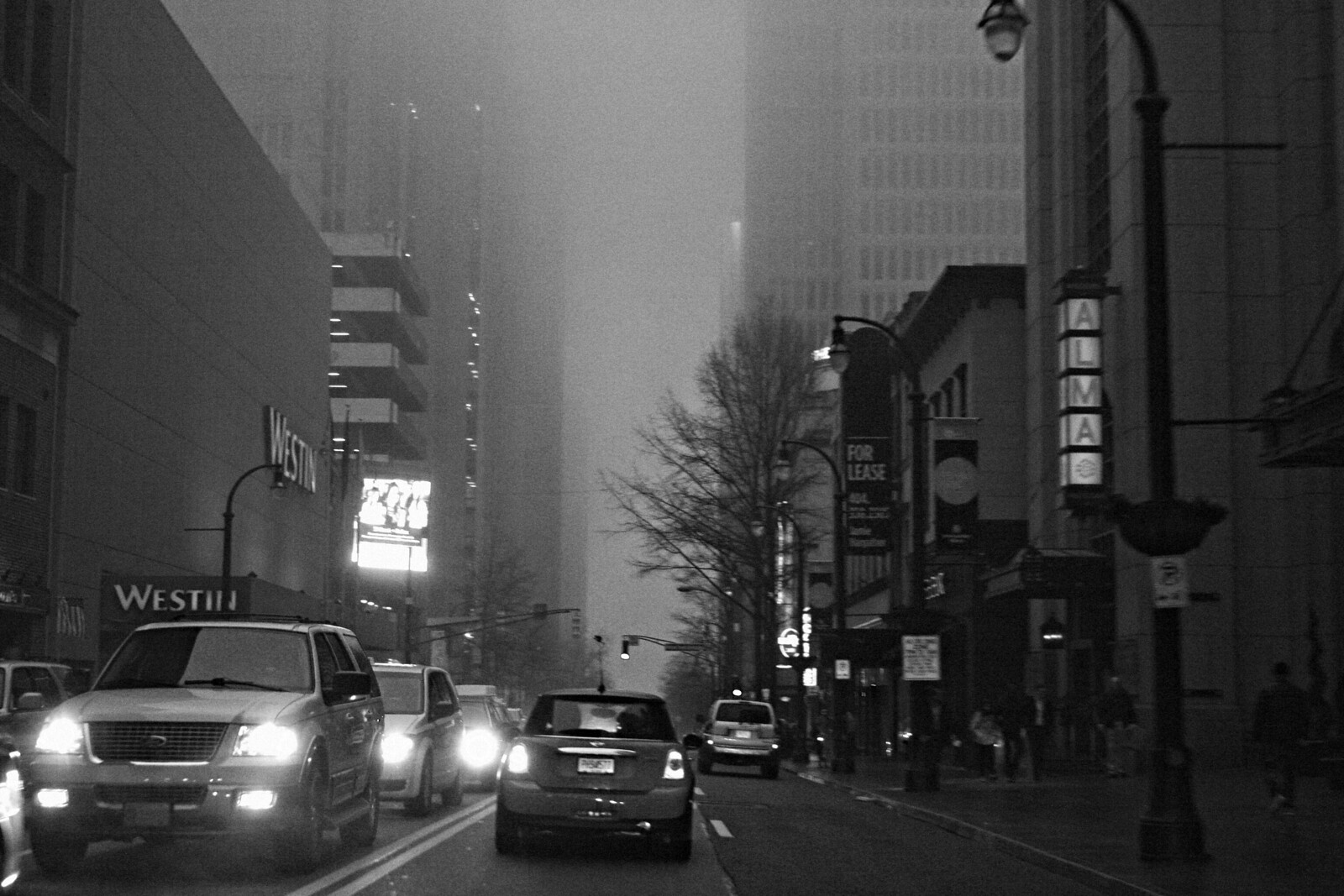 The Westin and the Alma Cocina in Fog, Peachtree Street, 2015