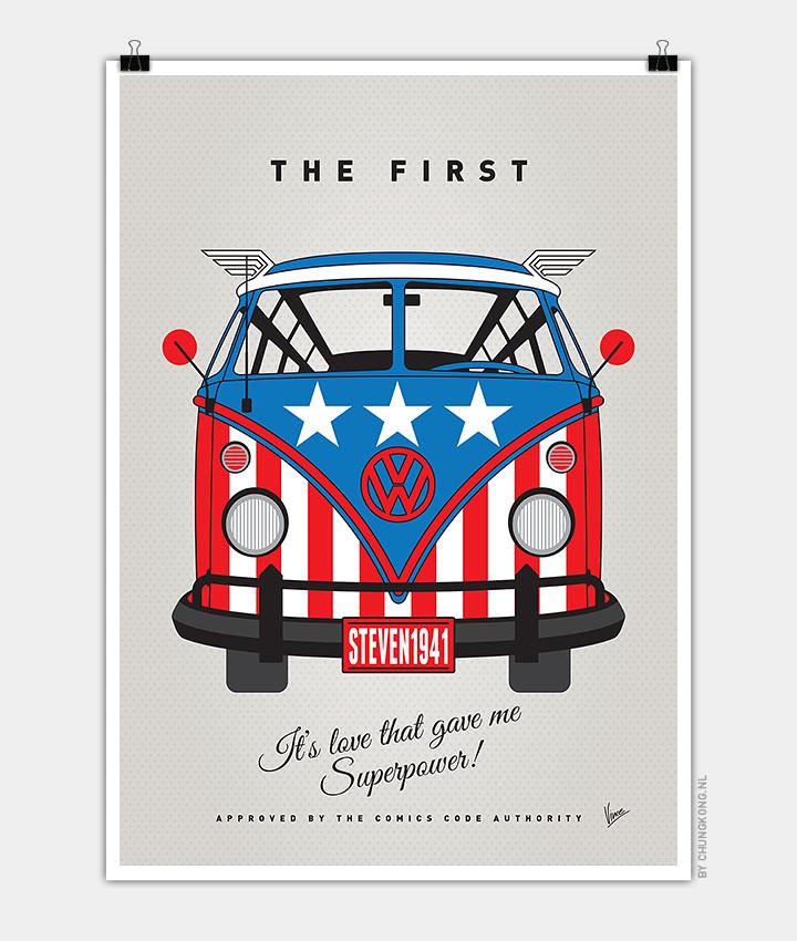Volkswagen T1 superhero rides by Chungkong - Captain America