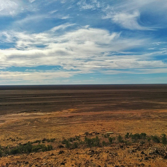 When this land floods it bursts into life. View from Vaughan Johnson Lookout. Get high in Outback Queensland and you'll get a vast view.