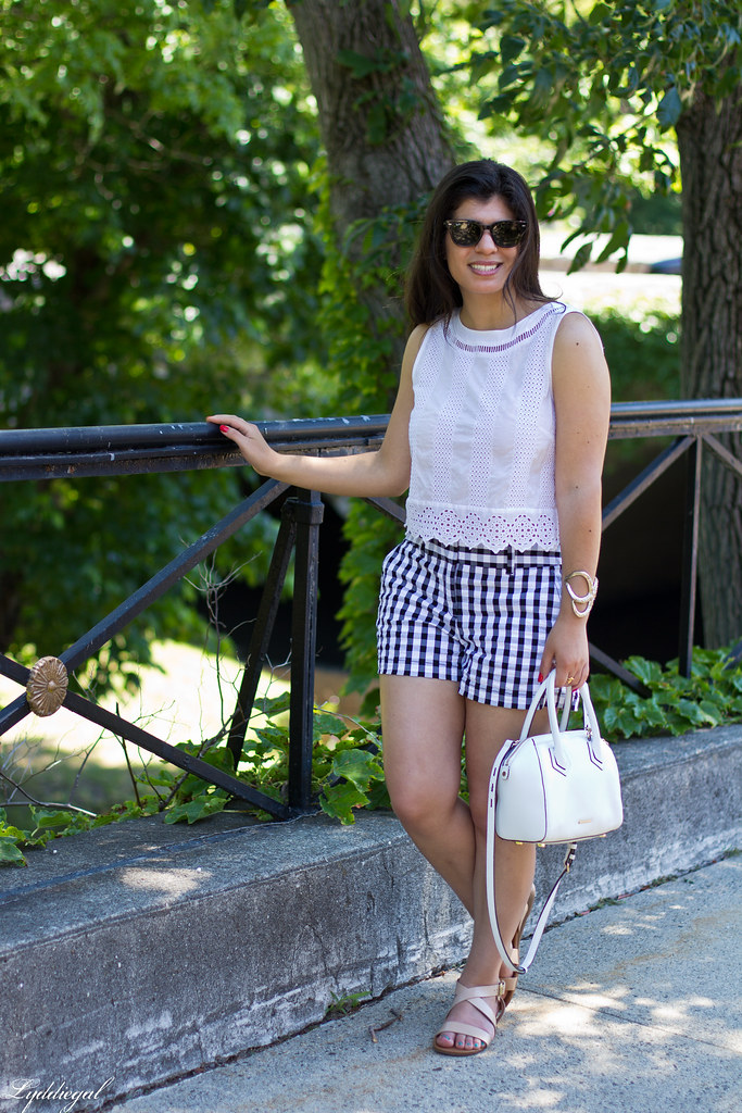 white eyelet lace crop top, gingham shorts, nude sandals-3.jpg