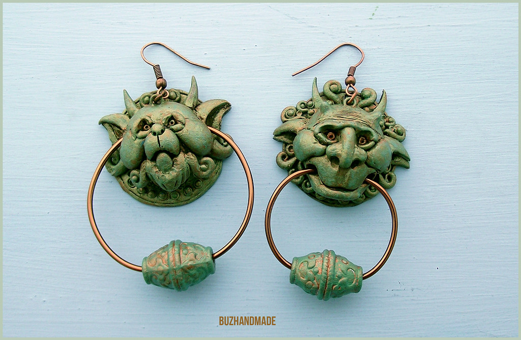 Labyrinth clay collection by buzhandmade - Door knocker Earrings