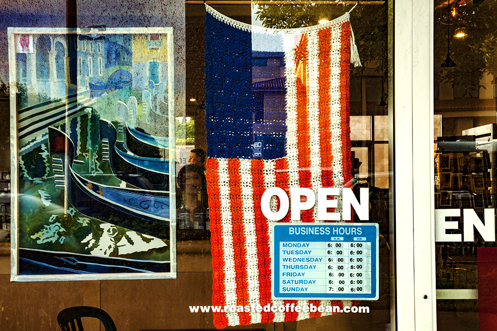 Flag-in-cafe's-window--Cupertino
