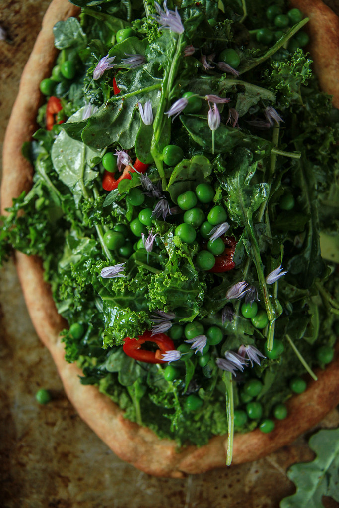 Green Goddess Pizza- Vegan and Gluten Free from HeatherChristo.com