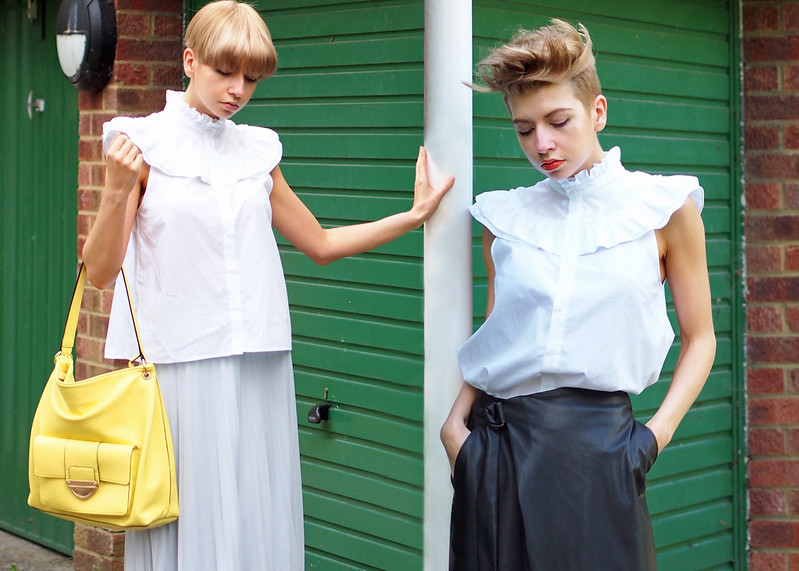 Close-Up, Frilled Blouse, Yoke, Piecrust Collar, H&M, How to Wear, SS16, Outfit Ideas, Styling Inspiration, UK Fashion Blog, London Style Blogger, Sam Muses, Dorothy Perkins, Pleated Midi Skirt, Pastel Blue, Yellow Bag, Marks & Spencer, M&S, Backless Loafers, New Look, Nude, Leather Wrap Midi Skirt, Dupe, D-Ring, Faux, White Trainers, Faux Hawk, Undercut