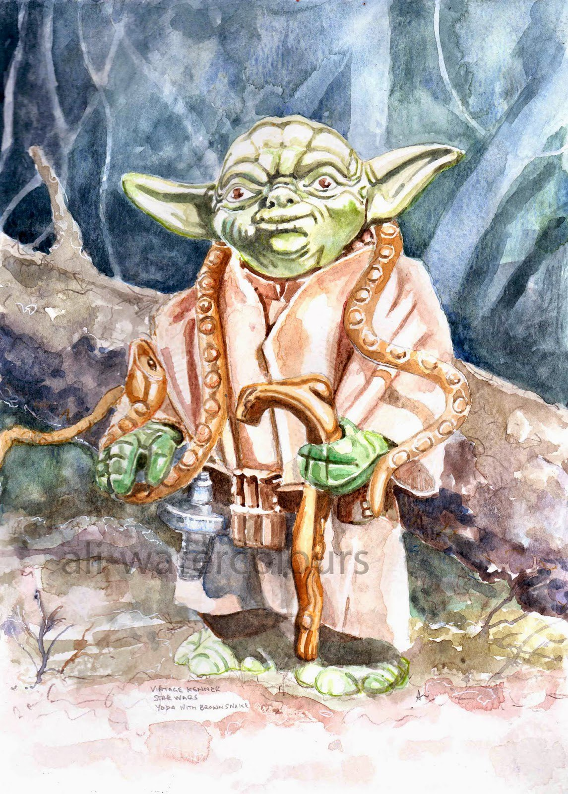 Vintage Star Wars toys, the art of Alastair Eales - Yoda Dagobah