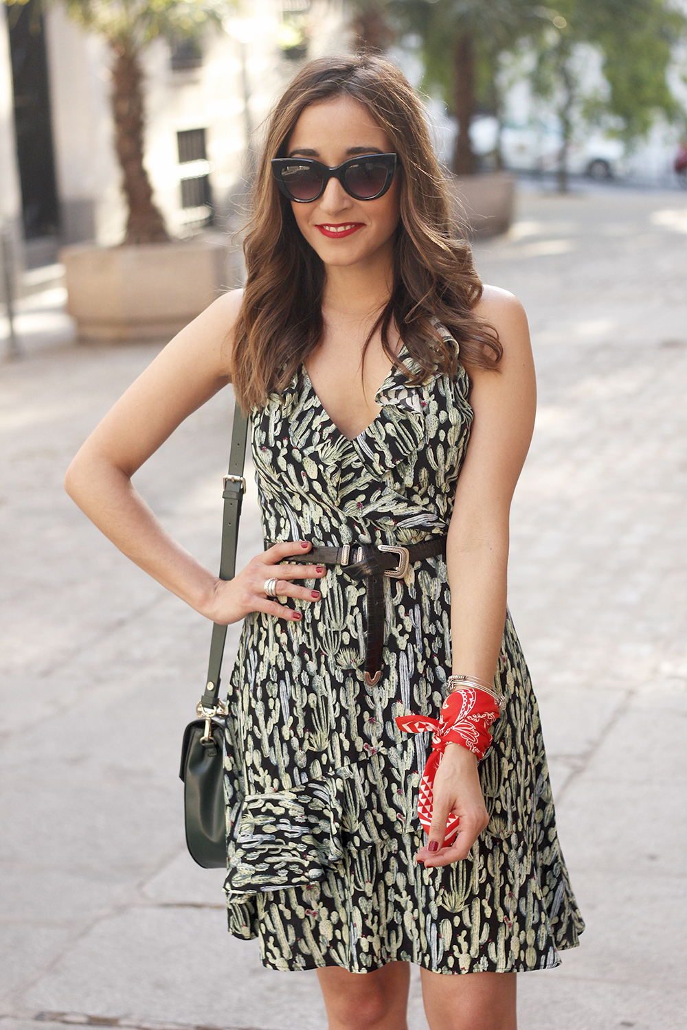 summer dress with cactus prints black sandals sunnies outfit style 01