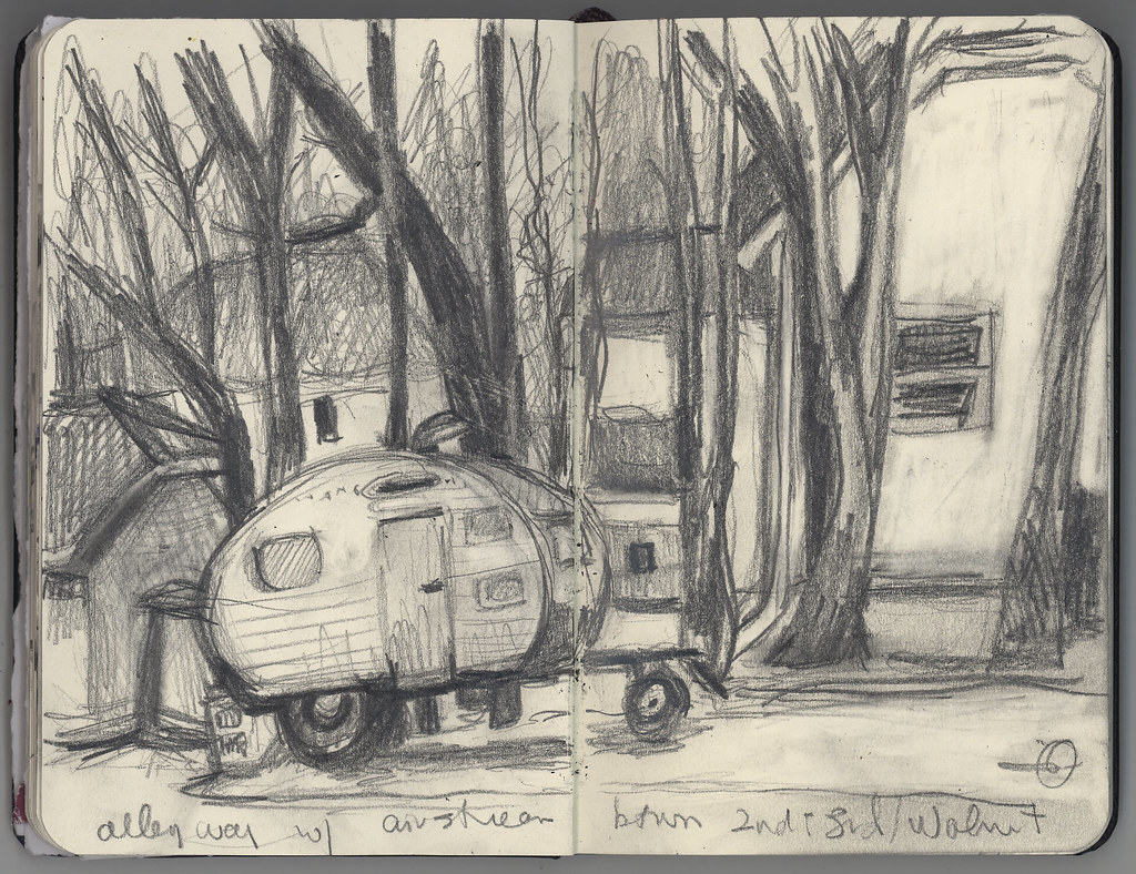 Vintage Airstream in alley sketch