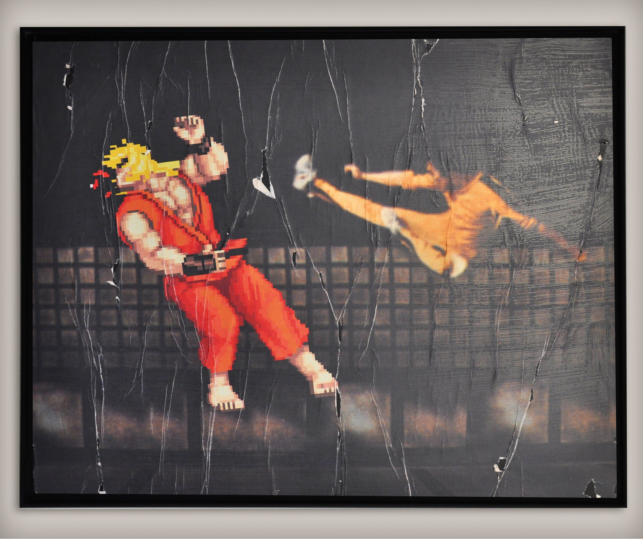 Street art by COMBO Culture Kidnapping - Street Fighter vs Bruce Lee