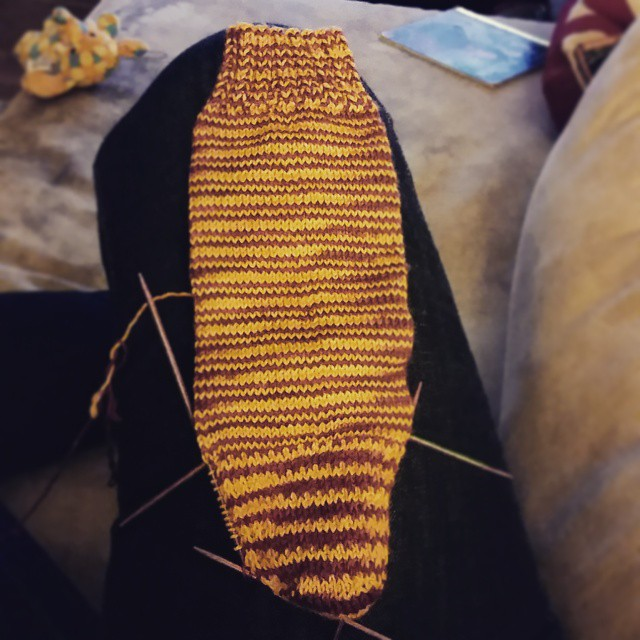 Heel turned, game won. Happiness ensues. #allincle #cavs #knitting #indiedyer #destinationyarn #yarn #handdyedyarn #yarnie #operationsockdrawer #knittersofinstagram #instaknit