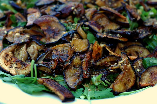 Thai eggplant salad with fresh garden greens and herbs by Eve Fox, The Garden of Eating, copyright 2015