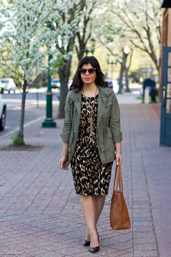 leopard dress, utility jacket, brown leather tote-1.jpg