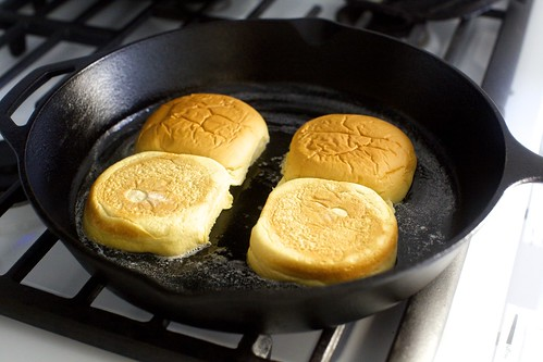 toasting the buns in butter