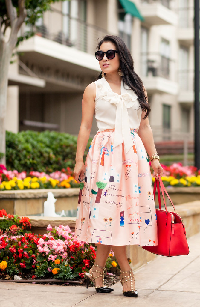 cute & little blog | petite fashion | choies pink character midi skirt, ivory silk blouse, kate spade red satchel, black studded pumps | spring summer outfit
