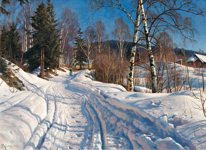 Peder Mørk Mønsted - Sunlit Winter Landscape (1919)