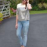 Sequinned Breton striped top, light wash NYDJ skinny jeans, pointed flats