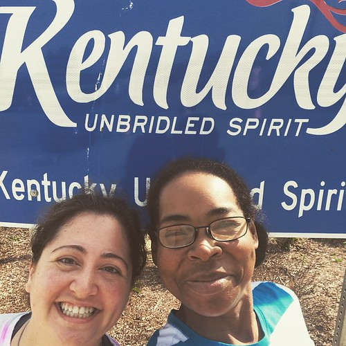 Taking a selfie at the rest stop! We're in Kentucky! #roadtrip #marathonmaniacs #halffanatics #webeatfat