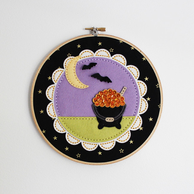 Beaded Cauldron Embroidery Hoop