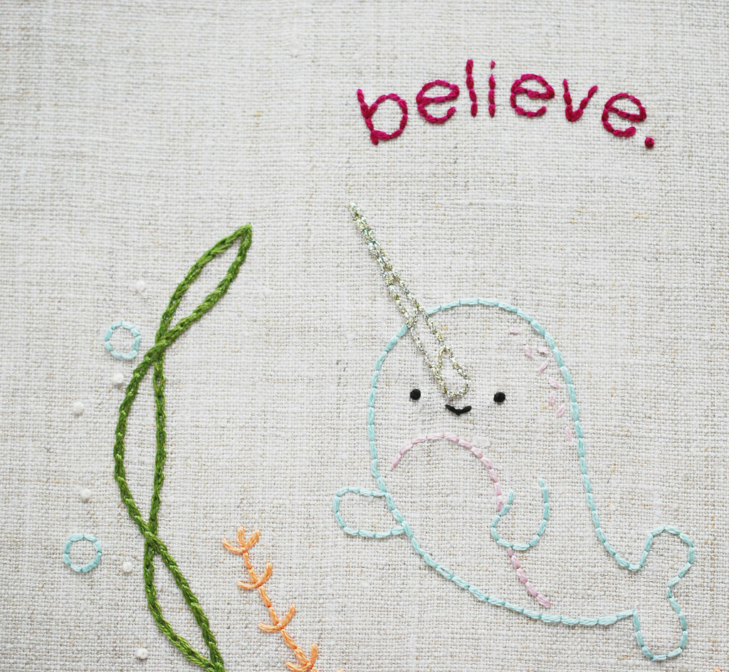 Believe. (a narwhal embroidery pattern)