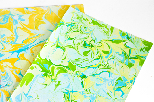 DIY Marbled Paper and Fabric   click through for the tutorial!