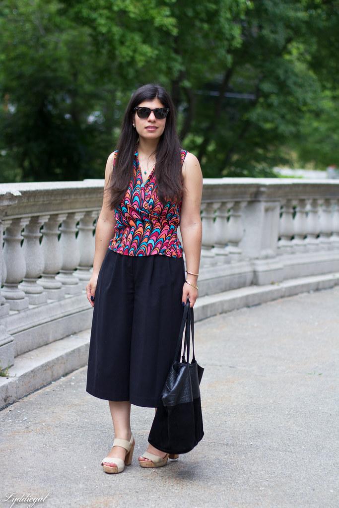 scallop print wrap blouse, black culottes, nude platform sandals.jpg