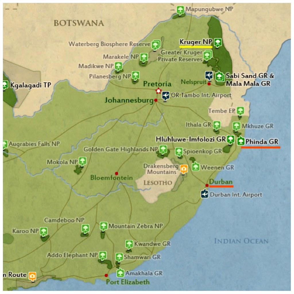 Mapa Phinda Game Reserve