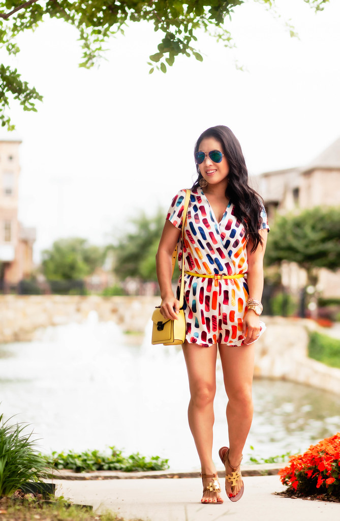 c66aa33ea441 Candy-Colored Romper + Tory Burch Sandals    Ann Taylor Sale - cute ...