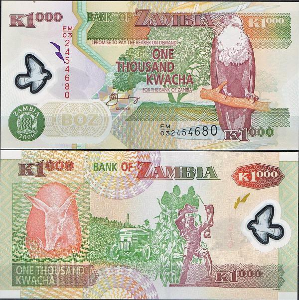 1000 Kwacha Zambia 2003-9, polymer, Pick 44