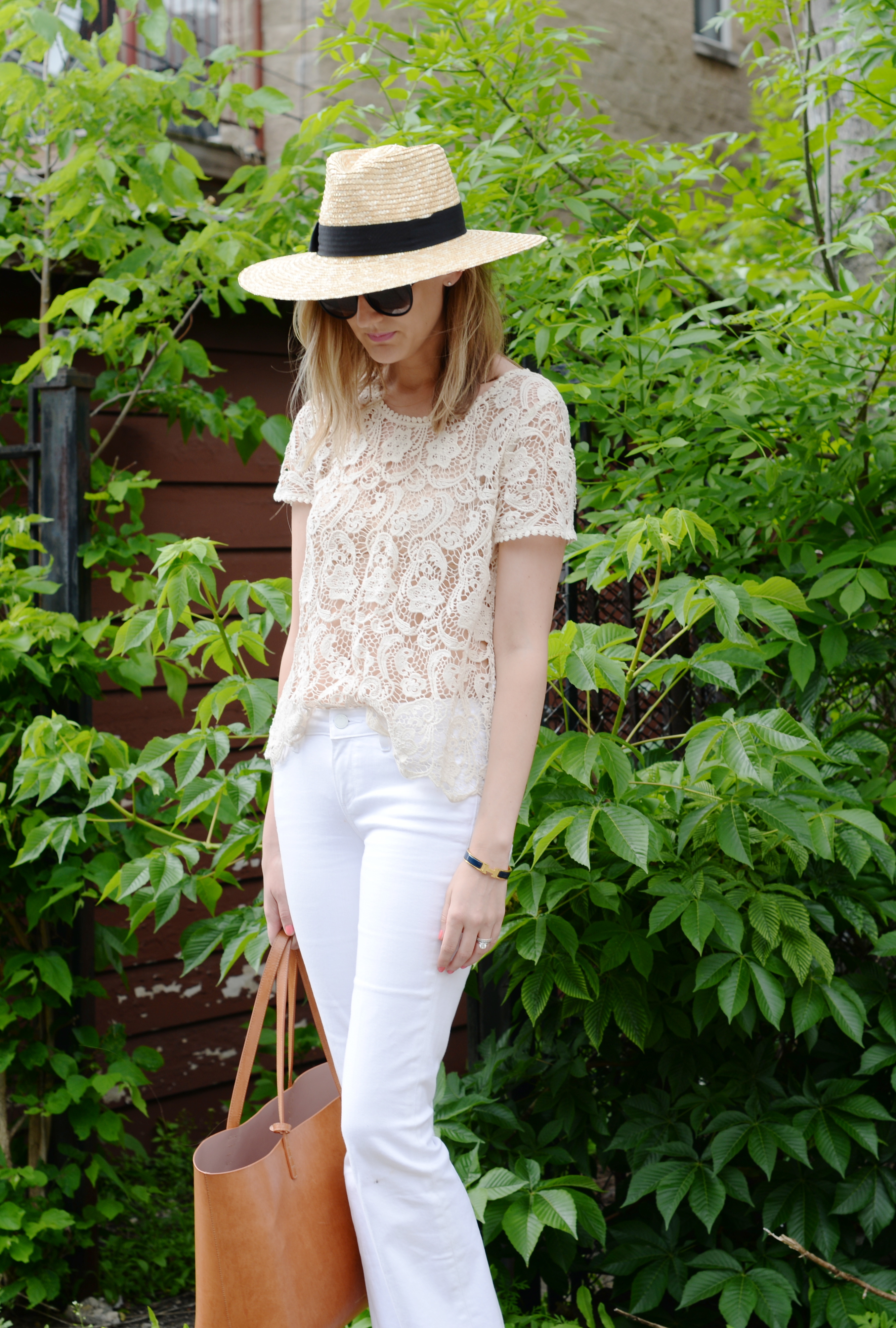 brixton joanna hat, joie lace tee, white flare jeans
