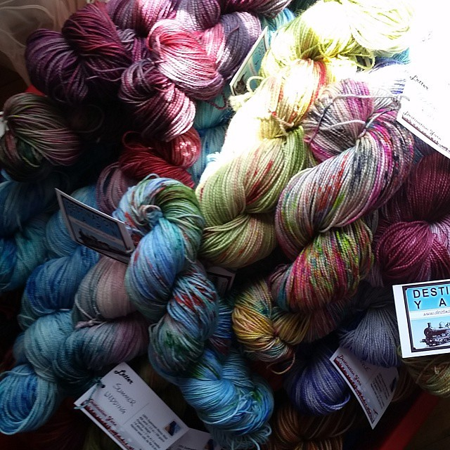 Big box o pretty headed out to Knitting on the Square tonight! #destinationyarn #indiedyer #etsyseller #yarnie #handdyedyarn #knit #knitting #operationsockdrawer #knittersofinstagram #knitstagram
