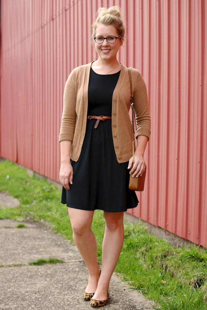 black shirt dress with cognac accessories