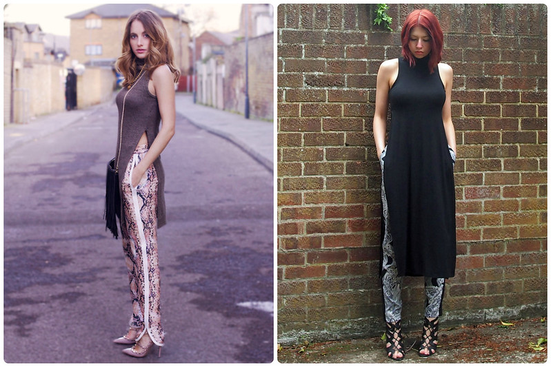 High Neck Side Split Midi Top, Sleeveless, AX Paris, Roll Neck, Polo Neck, V London, Silk Joggers, H&M, Snake Print, Boohoo, Paisley, Side Stripe, Sports Luxe, Lace-Up Heels, Sandals, Shoes, Style Inspiration, Outfit Ideas, How to Wear, SS15, Sam Muses, UK Fashion Blog, London Style Blogger, Stylist
