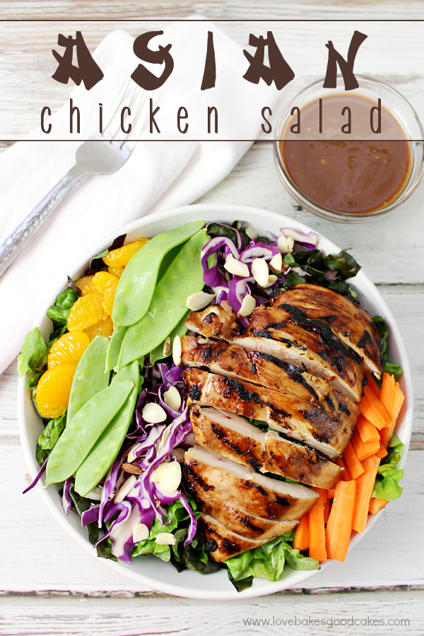 This Asian Chicken Salad is quick & easy to put together using fresh, crunchy veggies and tender grilled chicken! Serve it with a tangy and delicious Asian-style vinaigrette for a meal the entire family will love - yes, even the kiddos! #pmedia #SCNRF #ad