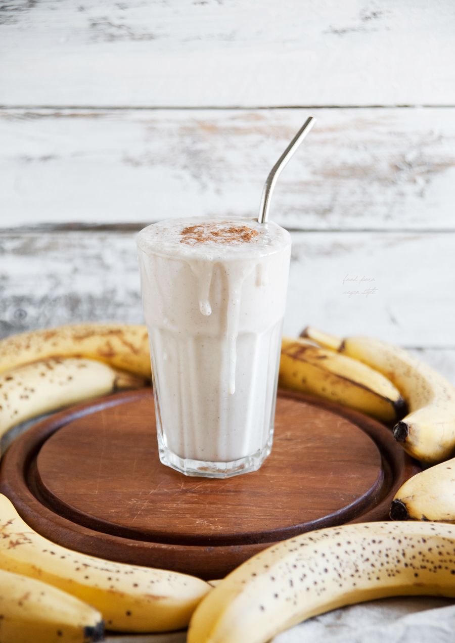 Vegan banana milkshake with tahini