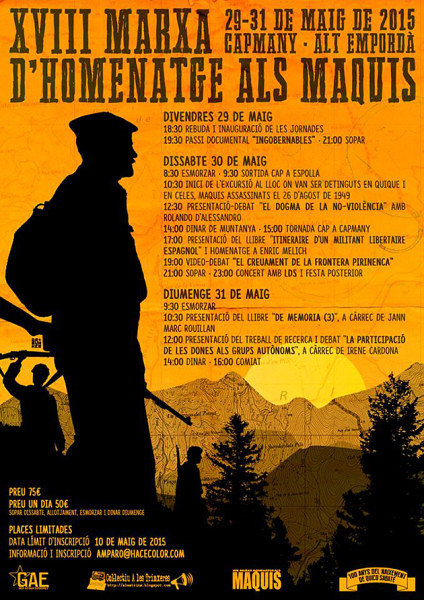 Tercera Marxa d'homenatge als Maquis de l'Empordà, del 29 al 31 de maig de 2015