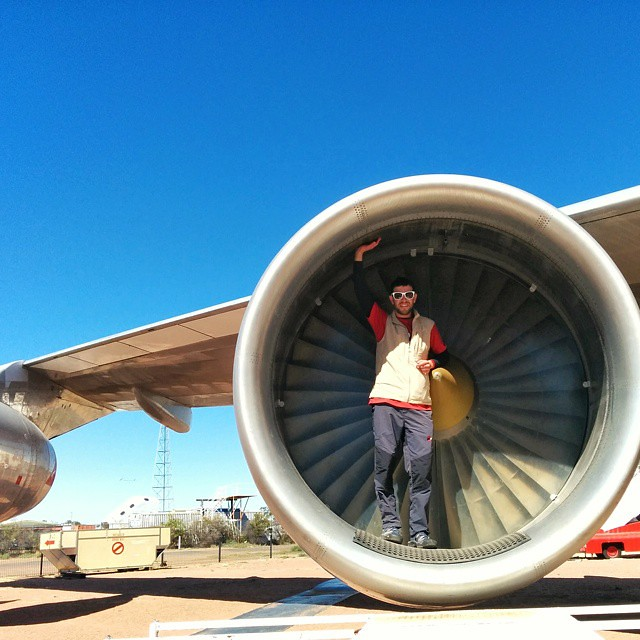 Standing inside the engine of a Boeing 747.