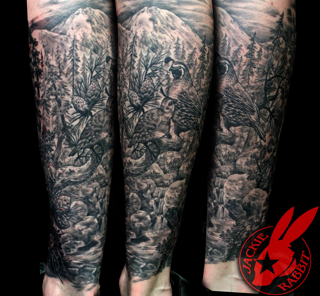 Pine Forest Tattoo Birds Nature Tree