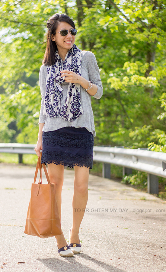 printed scarf, gray tee, navy lace skirt, cognac brown tote, espadrilles