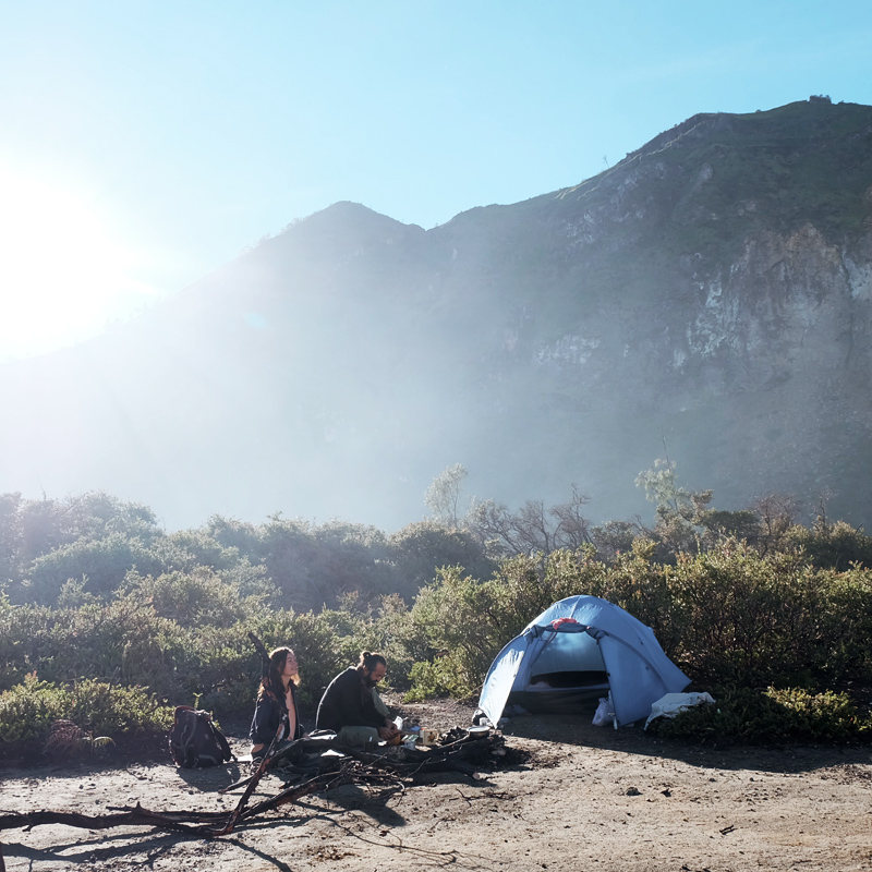 campin at ijen