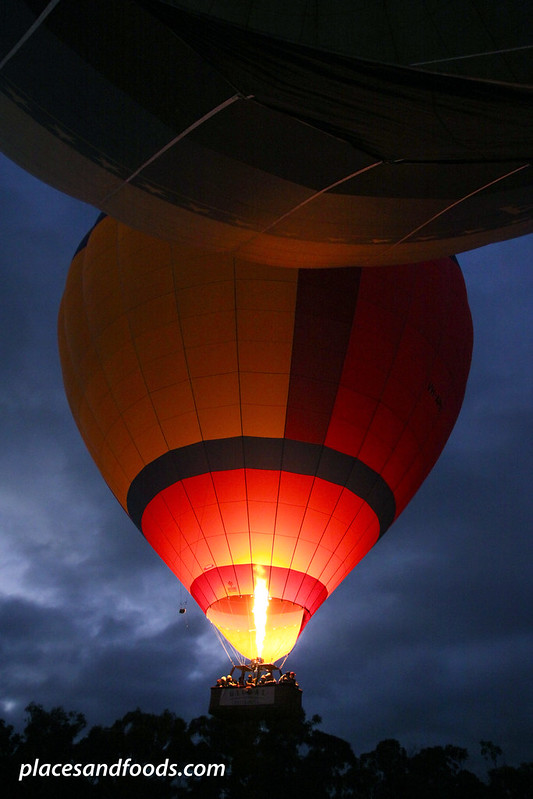 yarra valley hot air ballon going up