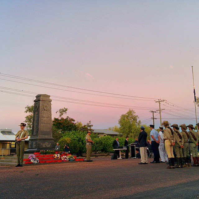 100 years ago today Australia and New Zealand troops stormed the beach at Gallipoli. We remembered them this morning at a dawn service in Winton, QLD. This tiny town in Outback Queensland sent 20% of its population to serve.