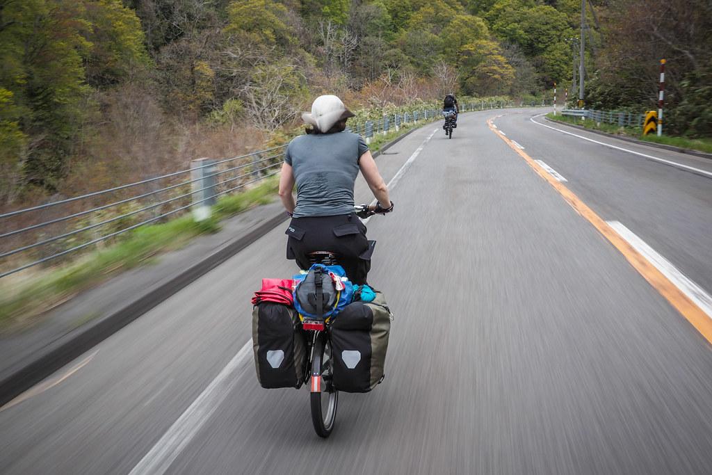 Cycling on Route 229 near Setana, Hokkaido, Japan