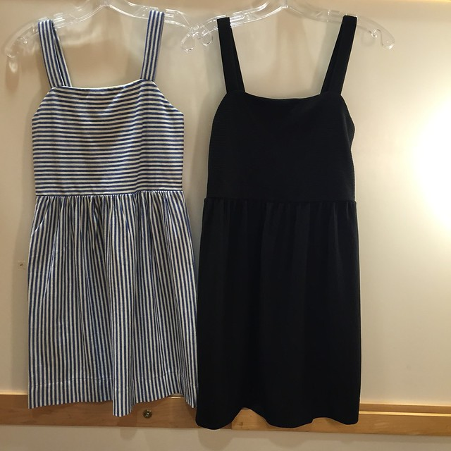 LOFT Striped Strappy Flare Dress in size XXSP on LEFT & Ottoman Strappy Flare Dress in XSP on RIGHT