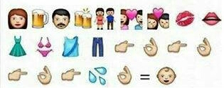 Explicacion de donde vienen los niños, con los emoticonos del WhatsApp