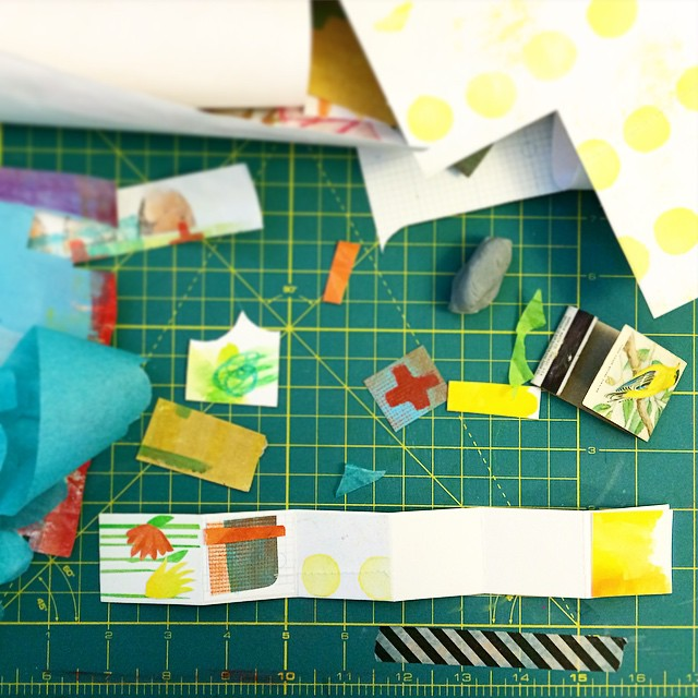 While my contribution to the #strikeawayshow is in transit to CA, I thought I'd share a progress photo from when I was working on it. Surprise, surprise, I made a #littleartbbook, accordion style. I had so much fun working on it! #matchbookart